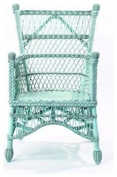 aqua wicker..love, love this chair...there was a rocker just like this at a cabin we stayed at in Colorado a couple years ago and I curled up in it as often as I could!
