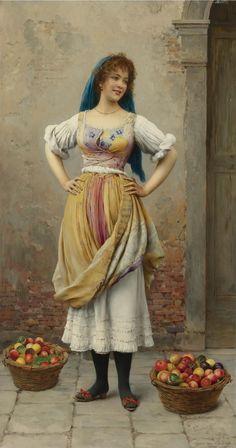 The market girl, oil on panel. c.1900