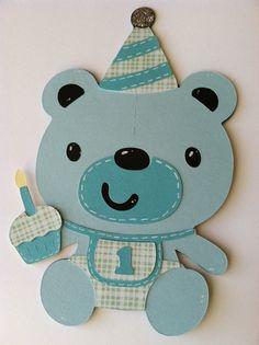 First Birthday Teddy Bear Handmade Boy Card by BigOrangeTabby, $3.50