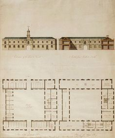 Ruperra Castle Stables (1790) | Unidentified Architect | Ink and watercolour | 59 x 47 cm | National Library of Wales ----- The symmetrical architecture of Ruperra Castle with its castellated parapet is mimicked in this service building. Functional, well planned & enclosing a quadrangle it accommodated the castle stables & coach houses together with a host of other ancillary rooms & servants' quarters.