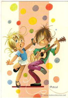 57193 postal dibujo niños bailando con guitarr - Comprar Dibujos y ...