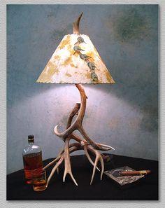 Mule Deer Antler Lamp with handmade paper shade