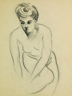 Nude Drawing, C. 1930 by Jean Ernst (Original Drawing; Unframed) from Art for the Free Spirit on Gilt