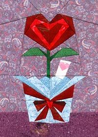 Heart Flower Paper Pieced Pattern at paperpanache.com