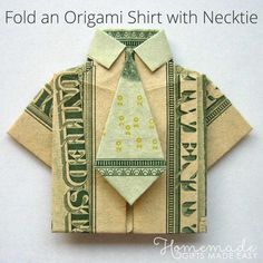 Fold a dollar bill into a Money Origami Shirt with my easy step-by-step instructions. A money shirt makes a cute way to give a cash gift or leave a tip. Origami Shirt, Origami Gifts, Origami Paper, Origami Ball, Origami Cards, Origami Folding, Paper Folding, Origami Rose, Origami Flowers
