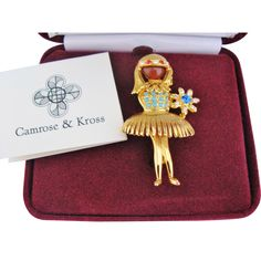 Ballerina Girl Camrose Kross Brooch Vintage Jackie Bouvier Kennedy JBK Collection Original Box