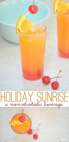 Holiday Sunrise Recipe on Frugal Coupon Living. A non-alcoholic drink with orange, cranberry, lime and pineapple juice. Pool or beach drink with the kids.