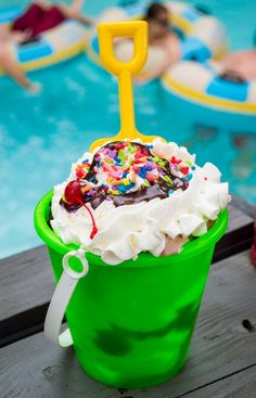 Reviews of this ice cream pail, the mini donuts, and other must-do foods at Typhoon Lagoon! #WaltDisneyWorld