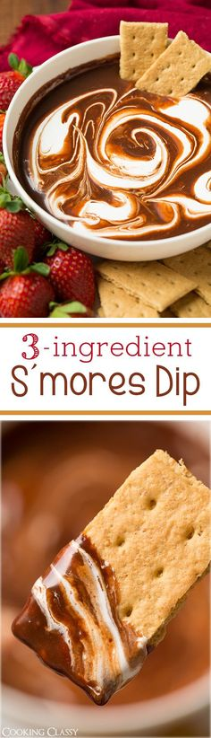 S'mores Dip - takes only 3 ingredients and about 5 minutes to make and it's SO good! Tastes just like a melty s'more when dipping graham crackers!