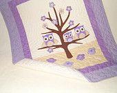 Owl Quilt, Crib Bedding, Owl Pillow,  Purple Green Yellow Baby Shower Gift. $150.00, via Etsy.