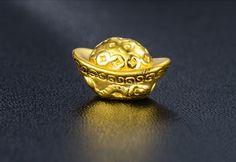 999 Solid 24K Yellow Gold Yuan Bao Bracelet