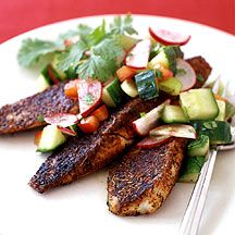 Blackened Tilapia with Radish and Cucumber Salsa - I liked the combination of the relish and blackened fish.  I will make it again.
