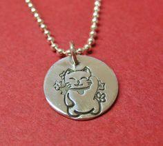 Lucky Cat Sterling Silver Necklace Maneki Neko Good by tsojewelry