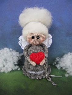 Elegant Angel Crochet Angel doll handmade gift Valentine Angel LOVE gift for mom Angel blond doll art  angel heart key birth gift Christmas by KrugerShop on Etsy