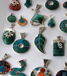 Ecuador silver inlay jewelry