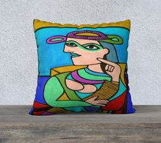 Art Picasso Style Lady Pillow Cover, Head, Abstract Art, Velveteen, Accent Pillow, Hat, Large Sofa Cushion, Art Cushion, Bright Pillow