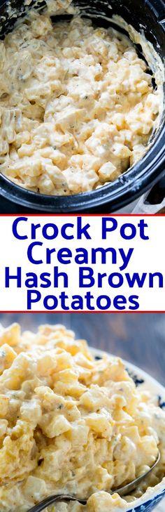 Crock Pot Creamy Hash Brown Potatoes #crockpot #slowcooker #potatoes #breakfast