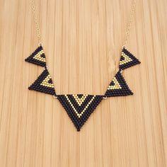 Yuka de collar negro y oro oro plateado y cristal por Ccedille