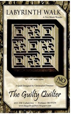 Labyrinth Walk - NEW Quilt Kits, NEW Block of the Month quilts, Free quilt patterns - Quilters Quarters - YOUR Online Home for New Quilt Kits, New Block of Month and ALL Quilting Supplies - Kansas' Premier Quilting Store Quilting Projects, Quilting Designs, Quilting Ideas, Sewing Projects, Sewing Ideas, Quilt Kits, Quilt Blocks, Labrynth Quilt Pattern, Labyrinth Walk