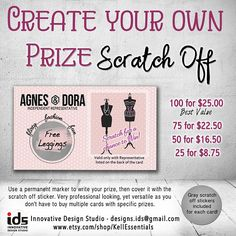 Agnes & Dora Scratch Off Cards! A great idea to offer special prizes to your guests or hostess.  They are the size of a standard business card.  You can customize these cards by writing the prize you want to offer, and then putting the scratch off sticker over the prize!  Women love FUN, FLIRTY, FASHION!