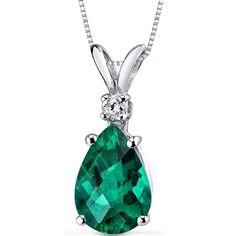 14 Karat White Gold Pear Shape 1.75 Carats Created Emerald Diamond Pendant