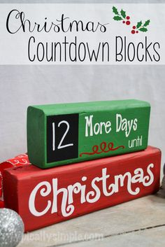 A great project to make with your Silhouette Cameo! Using wood blocks and vinyl,… A great project to make with your Silhouette Cameo! Using wood blocks and vinyl, create this Christmas Countdown complete with a chalkboard for the numbers! Christmas Wood Crafts, Christmas Signs, Christmas Projects, Christmas Fun, Holiday Crafts, Christmas Decorations, Christmas Crafts To Make And Sell, Christmas Blocks, Christmas Crafts To Sell Bazaars