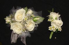White Prom Corsage and Boutonniere Set