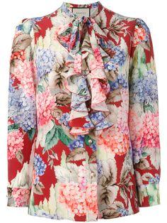 GUCCI Hydrangea Print Ruffled Blouse. #gucci #cloth #blouse