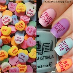 Valentines Day heart candies nail art | See more at http://www.nailsss.com/...  | See more nail designs at http://www.nailsss.com/nail-styles-2014/