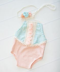 Limited Edition - only ONE available - newborn halter  romper in peach with aqua…