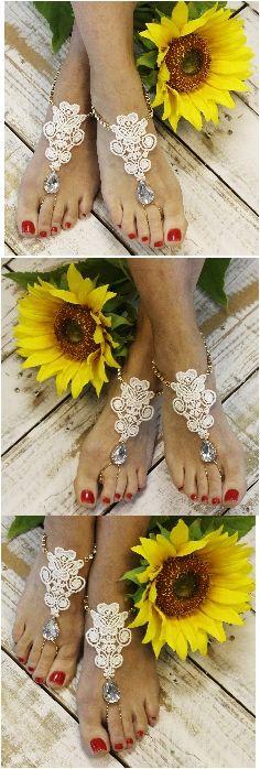 Barefoot sandals - lace - rhinestones - wedding #barefoot sandals #wedding #beach