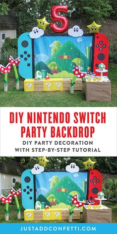 This giant DIY Nintendo Switch Party Backdrop is level up fun for your Super Mario Birthday Party! Follow the step-by-step tutorial to make this party backdrop in no time. Also, don't forget the other DIY party decorations—piranha plants made out of pool noodles, giant Yoshi eggs and a row of coin boxes! Check out all of the party ideas, decorations, cake, food and party games!