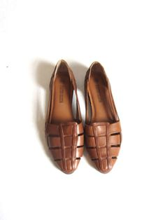 Vintage Brown Woven Leather Slip On Huaraches by CUPIDANDPSYCHELTD, $42.00