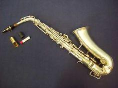 a de coleccion saxofon alto buescher aristocrat plata boquilla estuche bonus