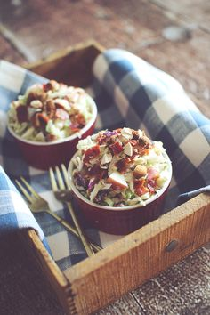 Apple Bacon Coleslaw with a Crunch!  {Mayo Free, Clean Eating}