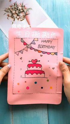 Diy Crafts For Girls, Fun Diy Crafts, Diy Arts And Crafts, Creative Crafts, Cool Paper Crafts, Paper Crafts Origami, Diy Birthday, Birthday Cards, Ideias Diy