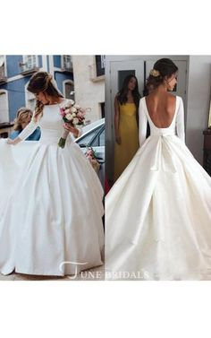 Satin Wedding Dresses Simple Backless Long Sleeve Satin Ball Gown Wedding Dresses - Shop affordable Simple Backless Long Sleeve Satin Ball Gown Wedding Dresses at June Bridals! Over 8000 Chic wedding, bridesmaid, prom dresses Corset Back Wedding Dress, Top Wedding Dresses, Wedding Dress Trends, Backless Wedding, Princess Wedding Dresses, Cheap Wedding Dress, Bridal Dresses, Gown Wedding, Wedding Venues
