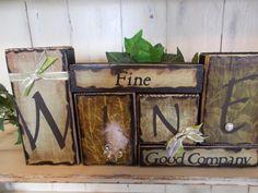 Wine Wood Block Sign by ktuschel on Etsy, $24.00