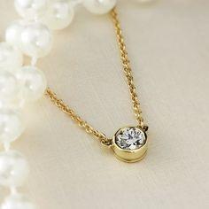 dcbfcd8652832 Auriya 1 4ctw Round Bezel Set Solitaire Diamond Necklace 14K Gold
