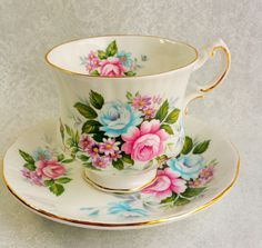 PARAGON  Flower Festival Fine Bone China  Vintage Tea Cup and Saucer / Pink and Blue Roses,  / Tea party