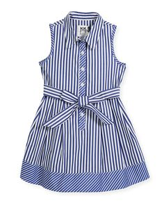 Milly Minis Sleeveless Striped Shirt Dress, Size and Matching Items Baby Girl Frocks, Frocks For Girls, Little Girl Dresses, Girls Dresses, Frock Design, Toddler Fashion, Fashion Kids, Kids Frocks Design, Dress Anak