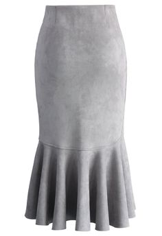 Sassy Suede Frill Hem Skirt in Grey - Skirt - Bottoms - Retro, Indie and Unique Fashion
