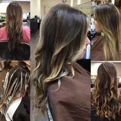 Inspiration by Erika Lindsey Klein from Duvall's School of Cosmetology. So excited about this #balayage I did today on my little sister's best friend :-) we also took about an inch of and added long layers. The pictures take you through the process, before, during, after the blow dry and than curled. #freelights #blondor #wella @bloomdotcom