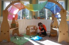 Our Play Space: Natural Beach Living Playroom/School Room Play Spaces, Kid Spaces, Learning Spaces, Outdoor Play Areas, Boost Creativity, Waldorf Toys, Waldorf Playroom, Toddler Playroom, Toy Rooms