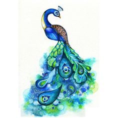 Peacock - Abstract Watercolor Fantasy Painting - Nature Inspired Bird... ($18) ❤ liked on Polyvore featuring home, home decor, wall art, animals, backgrounds, art, birds, drawings, fillers and peacock painting