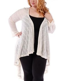 Look what I found on #zulily! Ivory Pointelle Hi-Low Open Cardigan - Plus by Yummy #zulilyfinds