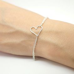 Side ways Sterling Silver Heart Bracelet Heart Charm by AiryLoft, $23.00