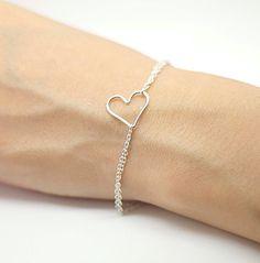 Side ways Sterling Silver Heart Bracelet Heart Charm by AiryLoft, $23.00