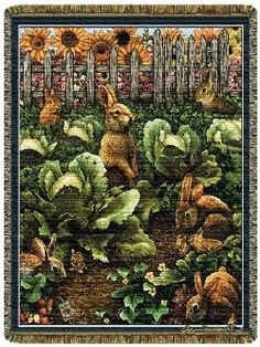 Fun Rabbits Out To Lunch Tapestry Throw.