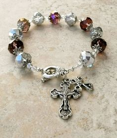 Genuine Silver And Amethyst AB Crystal Antique Silver Rosary Prayer Bracelet #HANDMADE #Beaded